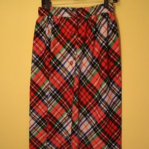 Vintage Plaid 60s 70s Mid Skirt Retro Deco